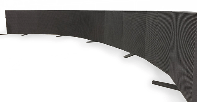 LED cabinet systems configured in a bend